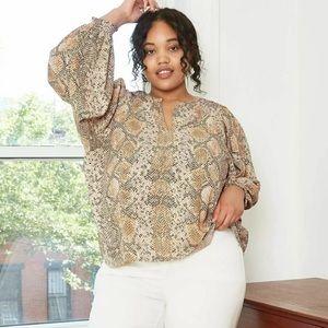 Women's Plus Size Long Sleeve V-Neck Smocked